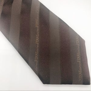Gianfranco Ferre Silk Brown Stripe Tie